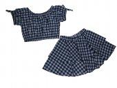 Tomurcuk Bebe Kız Çocuk Kareli Etekli Takım