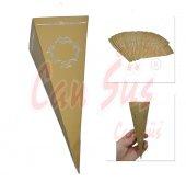 25li Yaldızlı Karton Külah Gold 15cm