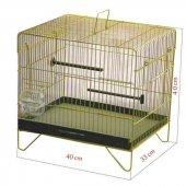 Akıllı Yemlikli Tek Katlı Kuş Kafesi Sarı Galvanizli 40 X 33 X 40cm