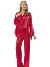 Vb Butik Kadın Gecelik Kırmızı Saten Takım