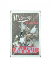 Welcome To Our Den Kurt Resimli 20x30 Metal Tablo Metal Plaka