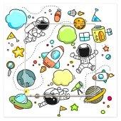 Dekoratif Baskılı Elektrik Düğmesi Priz Kapı Zili Uzay Çocuk