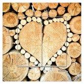 Dekoratif Baskılı Elektrik Düğmesi Priz Kapı Zili Odun Kalp
