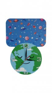 Uzay Temalı Mdf Dekoratif Baskılı Çocuk Odası Duvar Saati