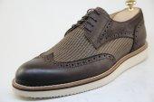 7778 Kahverengi Nubuk Ve Hasır Baskı Deriden Eva Tabanlı Yazlık Ayakkabı