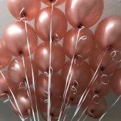 100 Adet Toz Pembe Bakır Rengi Rose Gold Balon, Helyumla Uçan