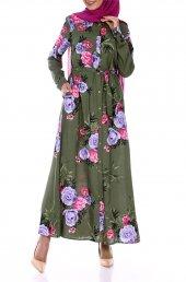 çiçekli Düğmeli Elbise 7273 Haki
