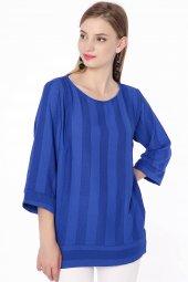 Salaş Krep Bluz Mavi 0290