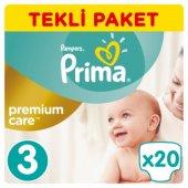 Prima Premium Care Bebek Bezi Tekli Paket 3 Beden 20 Adet