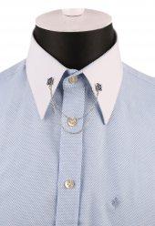Mavi Taşlı Zincirli Gömlek Yaka İğnesi Gı148