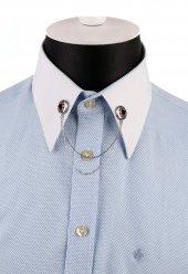 Gümüş Renk Kırmızı Taşlı Zincirli Gömlek Yaka İğnesi Gı154