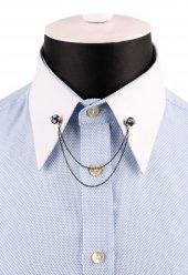Siyah Taşlı Zincirli Gömlek Yaka İğnesi Gı163