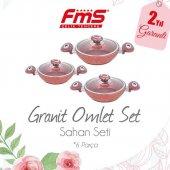 Fms Granit 3 Parça Sahan Omlet Tava Pembe Kırmızı Kahverengi Seti