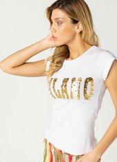 Milano İnci Varak Baskılı Bayan T Shirt Beyaz 0277