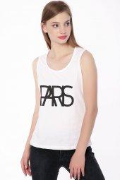Paris Baskılı Kolsuz Bayan T Shirt Beyaz 0283