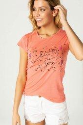 Baskılı Bayan T Shirt Mercan 0280