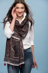 Clariss Marka Pamuklu Kumaş Trend Bayan Şal
