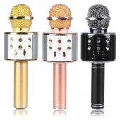 Wster Ws 858 Orjinal Bluetooth Karaoke Mikrofon Usb Sd Kart Radyo Pembe Rengi