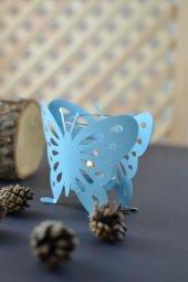 Metal Kelebek Mumluk Mavi