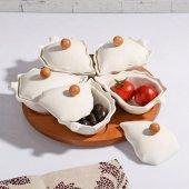 Bambu Standlı Porselen Yaprak Şekilli 5 Li Kahvaltılık Seti