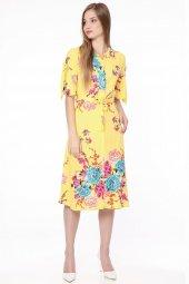 Gömlek Yaka Çiçekli Elbise Sarı 0917