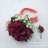 Kırmızı Gelin Buketi Tomurcuklu Güllerden Damat Yaka Gülü Hediyel