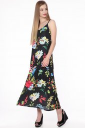 Askılı Çiçekli Şifon Elbise Siyah 0927