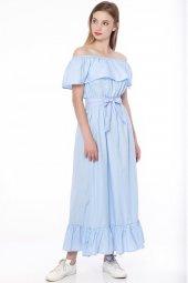 Madonna Yaka Uzun Elbise Mavi 2490