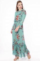 çiçekli Uzun Şifon Elbise Yeşil 5026