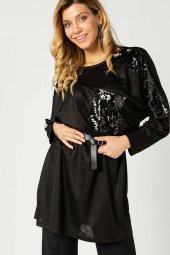 Payetli Yarasa Kol Tunik Siyah 107