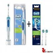 Oral B Vitality Cross Şarjlı Diş Fırçası + 2li Oral B Cros Yedek