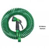 4 Fonksiyonlu 30 Metre Sulama Başlıklı Spiral Hortum