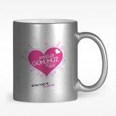 Kişiye Özel Anneler Gününüz Kutlu Olsun Tasarımlı Gümüş Yaldızlı Kupa Bardak 1