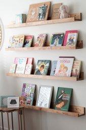 Ceebebek Ahşap Duvar Raf Bebek Çocuk Odası Montessori Ceviz Kitaplık 4cvzl80 Ücretsiz Kargo