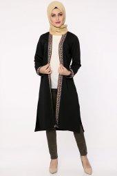 Etnik Şeritli Uzun Hırka Siyah 108