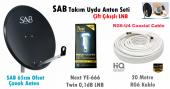 Sab 65cm Ofset Çanak Anten Next Çiftli Lnb + Kablo