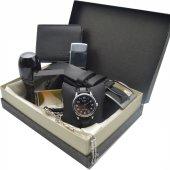 Casio Kol Saati Seti Lüx Siyah Parfüm Kemer Cüzdan Tesbih