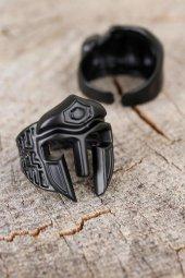 Miğfer Figürlü Mat Siyah Renk Metal Erkek Ayarlamalı Yüzük