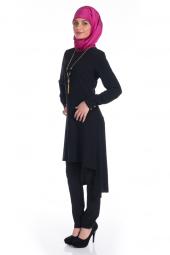 Modaverda Bayan Kolyeli Uzun Tunik Siyah Renk