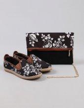 çiçek Desenli İkili Bayan Ayakkabı Çanta Kombin