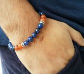 Lapis Lazuli Akik Hematit Doğal Taş Erkek Bileklik Mdb27