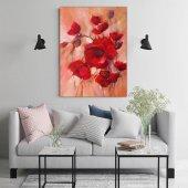 Kırmızı Çiçekler Yağlı Boya Kanvas Tablo