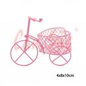 10lu Kalp Sepetli Metal Tel Bisiklet Pembe 10cm