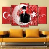 Atatürk 5 Parçalı Mdf Tablo