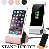 Iphone 5 5s 6 6s 7 8 X Plus Masaüstü Şarj Aleti Metal Stand Dock