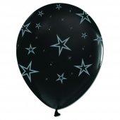 100 Adet Kikajoy Çepeçevre Gümüş Yıldızlar Baskılı Siyah Balon
