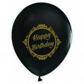 100 Adet Kikajoy Gold Elegant Stripe Birthday Baskılı Siyah Balon