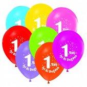 100 Adet Kikajoy 1 Yaş Baskılı Pastel Balon