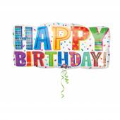 1 Adet Kikajoy Renkli Happy Birthday Folyo Balon 83 X 40 Cm