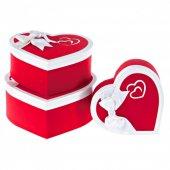 Kikajoy Clatter Kırmızı&beyaz Kalp Kutu Set 3lü